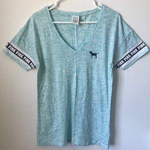 VS PINK Light Blue V-Neck Boyfriend Jersey T-Shirt